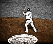 Baseball Bat Prints - Omar Quintanilla Pro Baseball Player Print by Marilyn Hunt