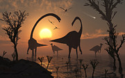 Bare Trees Metal Prints - Omeisaurus And Duckbill Dinosaurs Graze Metal Print by Mark Stevenson