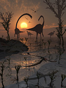 Bare Trees Prints - Omeisaurus And Duckbill Dinosaurs Print by Mark Stevenson
