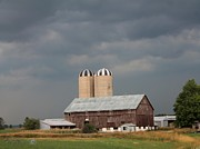 Storm Prints Photo Prints - Ominous Clouds Over the Barn Print by J McCombie