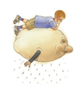 Boy Drawings - On a Cloud by Kestutis Kasparavicius