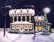 Garland Posters - On A Cold Winter Evening Poster by Catherine Holman