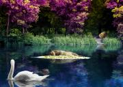 Dolphins Digital Art Posters - On a Lake Poster by Svetlana Sewell