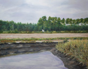 South Carolina Low Country Marsh Paintings - On A Tidal Creek by Stanton Allaben
