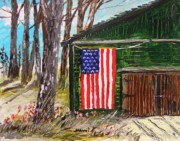 Red White And Blue Drawings - On a Veterans Barn by John  Williams