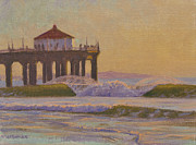 Surfing Art Painting Originals - On A Warm Winter Evening by Joe Mancuso