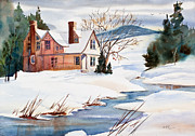 Snowy Stream Prints - On a Winters Day Watercolor Painting Print by Michelle Wiarda