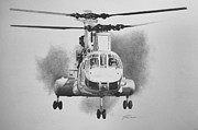 Helicopter Drawings Posters - On Approach Poster by Stephen Roberson
