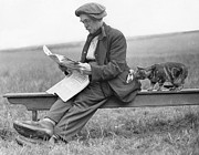 One Mature Man Only Prints - On Bench With Cat Print by Hulton Collection