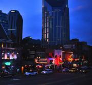 Buildings In Nashville Tennessee Posters - On Broadway in Nashville Poster by Susanne Van Hulst