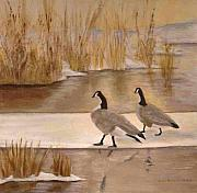 Canadian Geese Paintings - On Canadian Ice by Linda McKenna