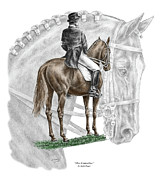 Horse Drawing Posters - On Centerline - Dressage Horse Print color tinted Poster by Kelli Swan