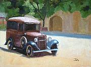 Antique Automobiles Painting Framed Prints - On display Framed Print by Tate Hamilton