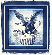 Usa Flag Mixed Media Metal Prints - On Eagles Wings Blue Metal Print by Angelina Vick