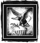 Usa Flag Mixed Media Framed Prints - On Eagles Wings BW Framed Print by Angelina Vick