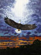Eagle In Clouds Prints - On Eagles Wings Print by John Lautermilch