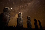 Monoliths Posters - On Easter Island, Mysterious Statues Poster by Stephen Alvarez