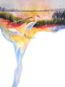 Egret Painting Originals - On Fire by Kathy Braud