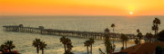 San Clemente Photo Prints - On Golden Pier Print by Gary Zuercher