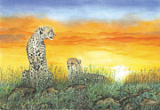Leopard Pastels Posters - On Guard Poster by John Hebb