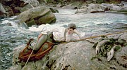 White River Painting Prints - On His Holidays Print by John Singer Sargent