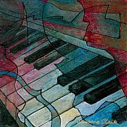 Instruments Paintings - On Key - Keyboard Painting by Susanne Clark