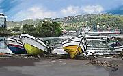 Boats Pastels Prints - On Land St Lucia Print by James  Mingo