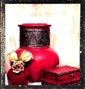 Red Vase Acrylic Prints - On Mammas Dresser Acrylic Print by Marsha Heiken