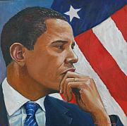 Obama Painting Metal Prints - On Reflection Metal Print by Tomas OMaoldomhnaigh