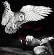 Black And White Owl Paintings - On Silent Wings by Pat Erickson