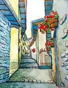 City Streets Drawings Prints - on small streets of the city of Fiumalbo-2 Print by Khromykh Natalia