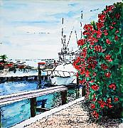Harbors Mixed Media Acrylic Prints - On the Back Porch Acrylic Print by Neva Rossi