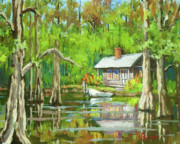 Cabin Painting Prints - On the Bayou Print by Dianne Parks