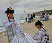 Young Girl Reading Paintings - On the Beach at Trouville by Claude Monet