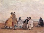 Boudin Paintings - On the Beach at Trouville by Eugene Louis Boudin