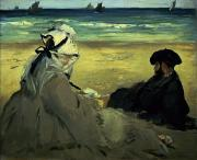 Beard Prints - On the Beach Print by Edouard Manet