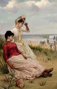 Sisters Paintings - On the Beach by George van den Bos
