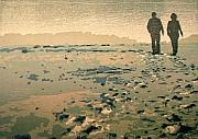 Couple Mixed Media - On the beach by Jan Olav Forberg