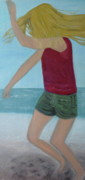 Dancing Girl Paintings - On The Beach by Jill Kraft