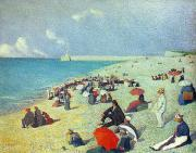 Sandy Beaches Painting Prints - On The Beach Print by Leon Pourtau