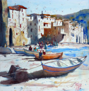 Sicily Painting Metal Prints - On the beach of Cefalu Metal Print by Andre MEHU