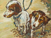 Dog Swimming Paintings - On The Beach by Sandy Tracey