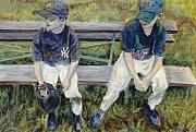 Mets Paintings - On the bench by Connie Freid