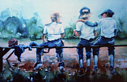 Action Sports Art Paintings - On The Bench by Hanne Lore Koehler