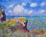 Period Clothing Framed Prints - On The Bluff at Pourville - Sur Les Traces de Monet Framed Print by David Lloyd Glover