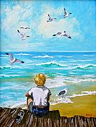 Child Art Prints - On the Boardwalk Print by Karon Melillo DeVega