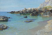 Italian Landscape Paintings - On the Capri Coast by Paul von Spaun