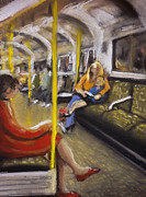 Underground Art Pastels Prints - On The Central Line Print by Paul Mitchell