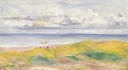 Blue Brown Paintings - On the Cliffs by Pierre Auguste Renoir