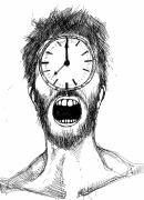 Face Drawings - On the clock by Michael De Alba